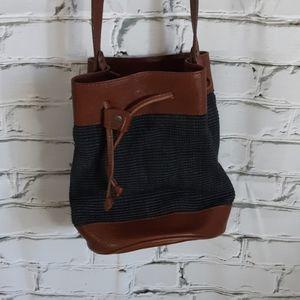 Leather Crossbody Bucket Bag